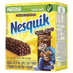 נסקוויק חטיף דגני בוקר פריכים בטעם שוקולד עם שכבת שוקולד  6*25 גרם